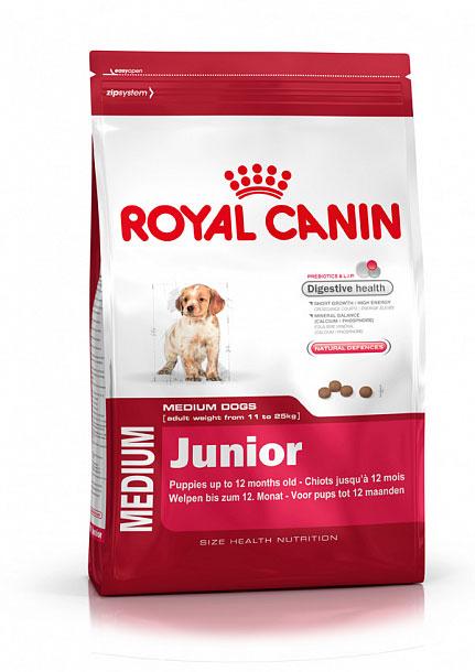 Корм сухой Royal Canin Medium Junior, для щенков весом от 11 кг до 25 кг в возрасте до 12 месяцев, 15 кг корм сухой royal canin german shepherd junior для щенков собак породы немецкая овчарка до 15 месяцев 12 кг