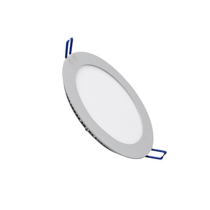 Светильник встраиваемый светодиодный тонкий круг 10W 2800K 700lm теплый белый D=180mm - цвет серый