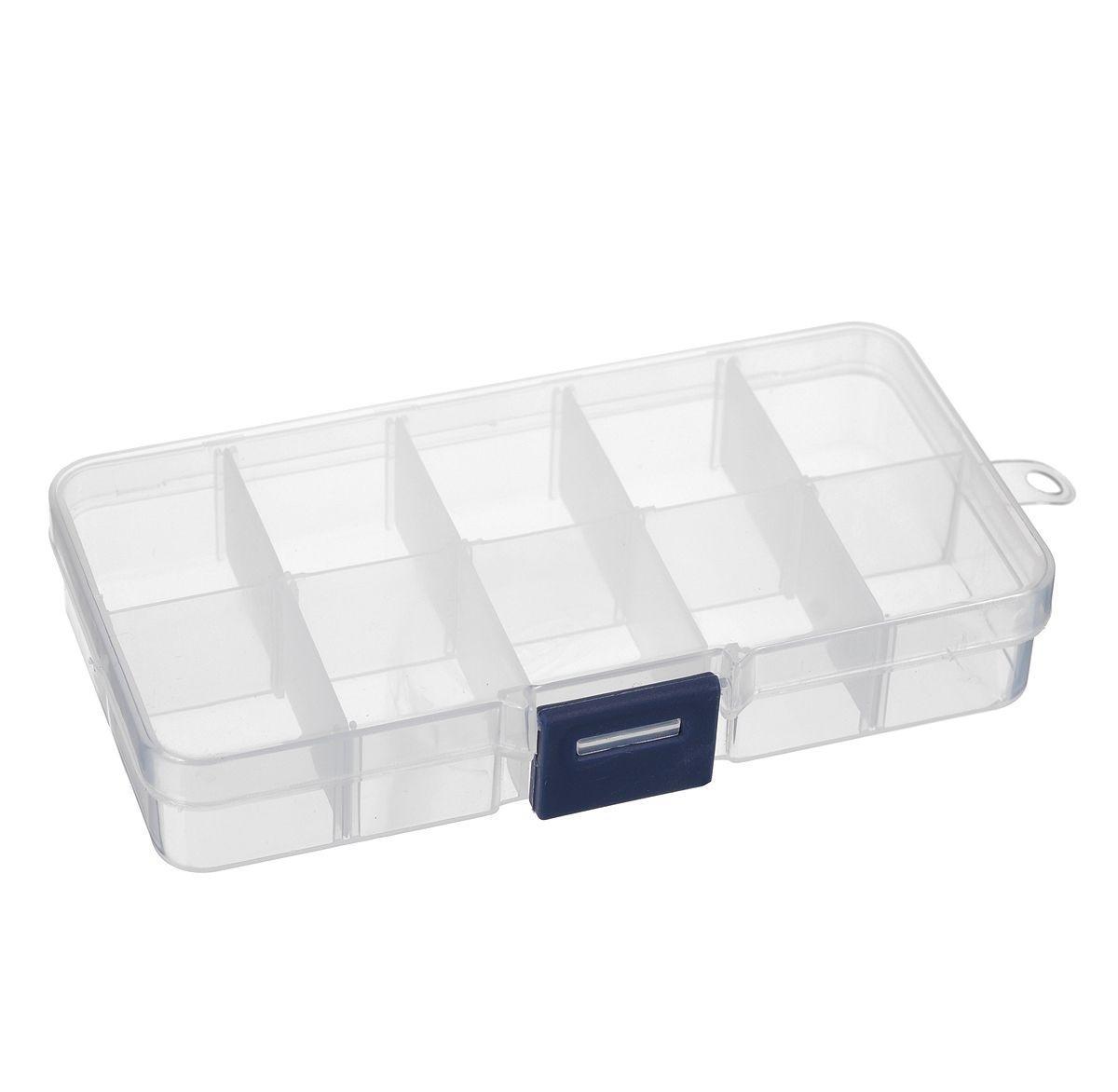 Контейнер для мелочей, 13,2 см х 6,8 см х 2,3 см. 529529Контейнер для мелочей изготовлен из прозрачного пластика, что позволяет видеть содержимое. Внутри содержится 10 ячеек (с вынимающимися перегородками) для хранения мелких принадлежностей. Крышка плотно закрывается на замок-защелку. Такой контейнер поможет держать вещи в порядке.