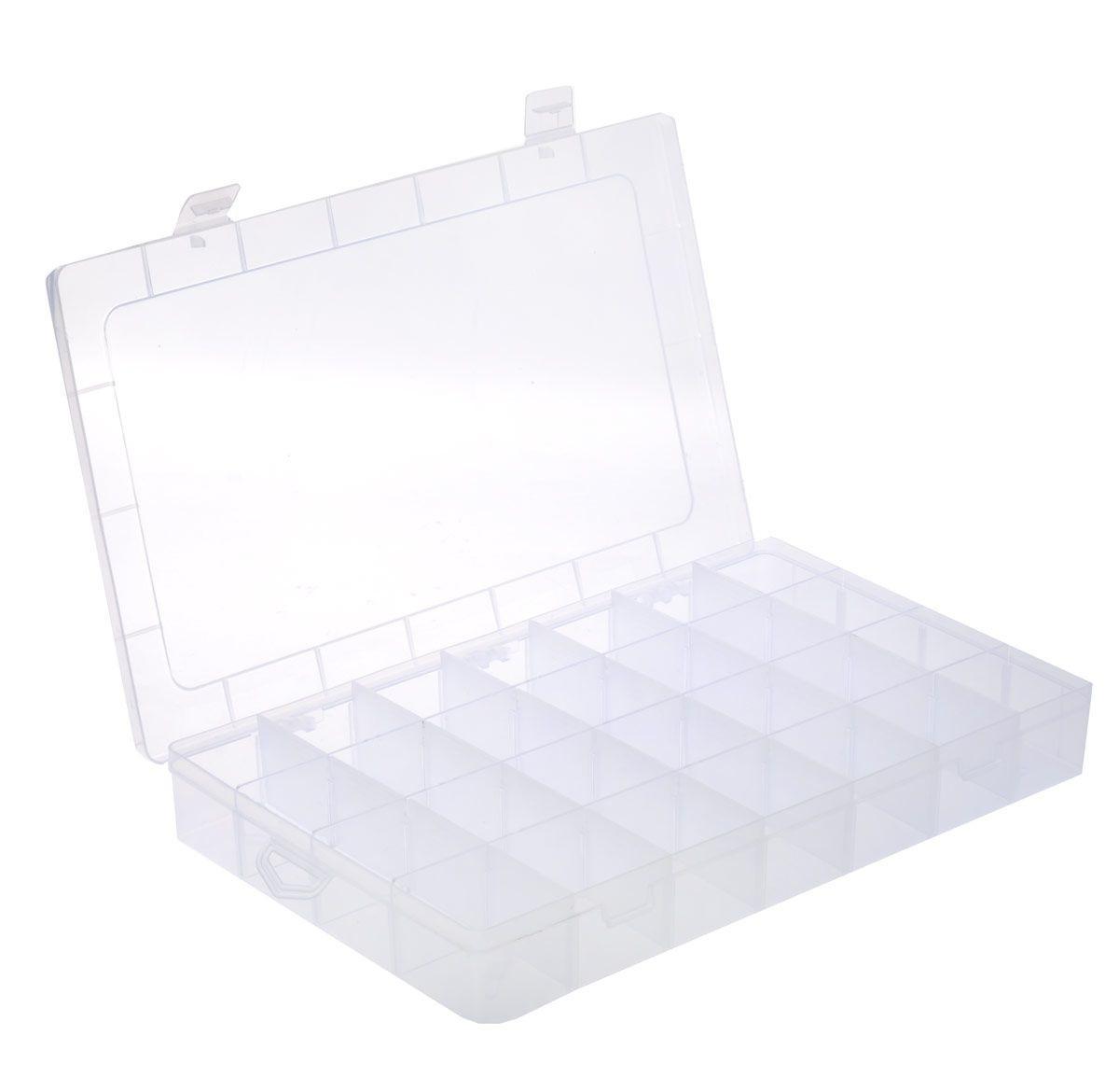 Контейнер для хранения швейных принадлежностей, 34,5 см х 21,7 см х 4,8 см. 526592526592Контейнер для хранения швейных принадлежностей изготовлен из прозрачного пластика. Предназначен для хранения швейных принадлежностей, рыболовных крючков, мелких деталей. Внутри содержится 28 квадратных ячеек. Прозрачная поверхность позволяет видеть содержимое. Удобный и надежный замок-защелка обеспечивает надежное закрывание крышки. Изделие легко моется и чистится. Такой контейнер поможет держать вещи в порядке.
