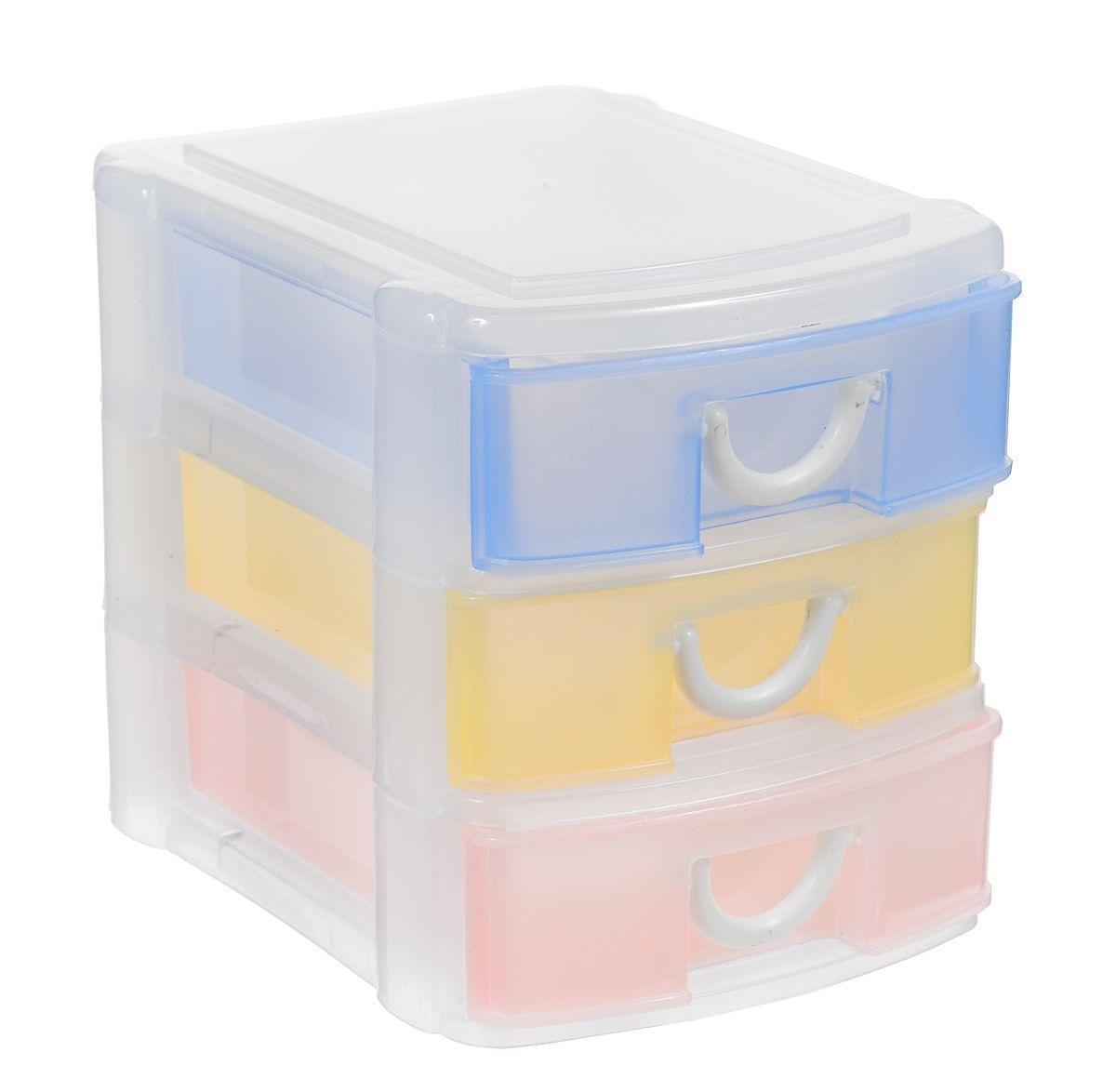 Контейнер для хранения выполнен из прочного пластика и предназначен для хранения предметов рукоделия, а также других различных мелких предметов. Контейнер состоит из трех ярусов с выдвижными ящиками, которые для большего удобства оборудованы ручками-петельками. Контейнер поможет хранить все в одном месте, а также защитить вещи от пыли, грязи и влаги.