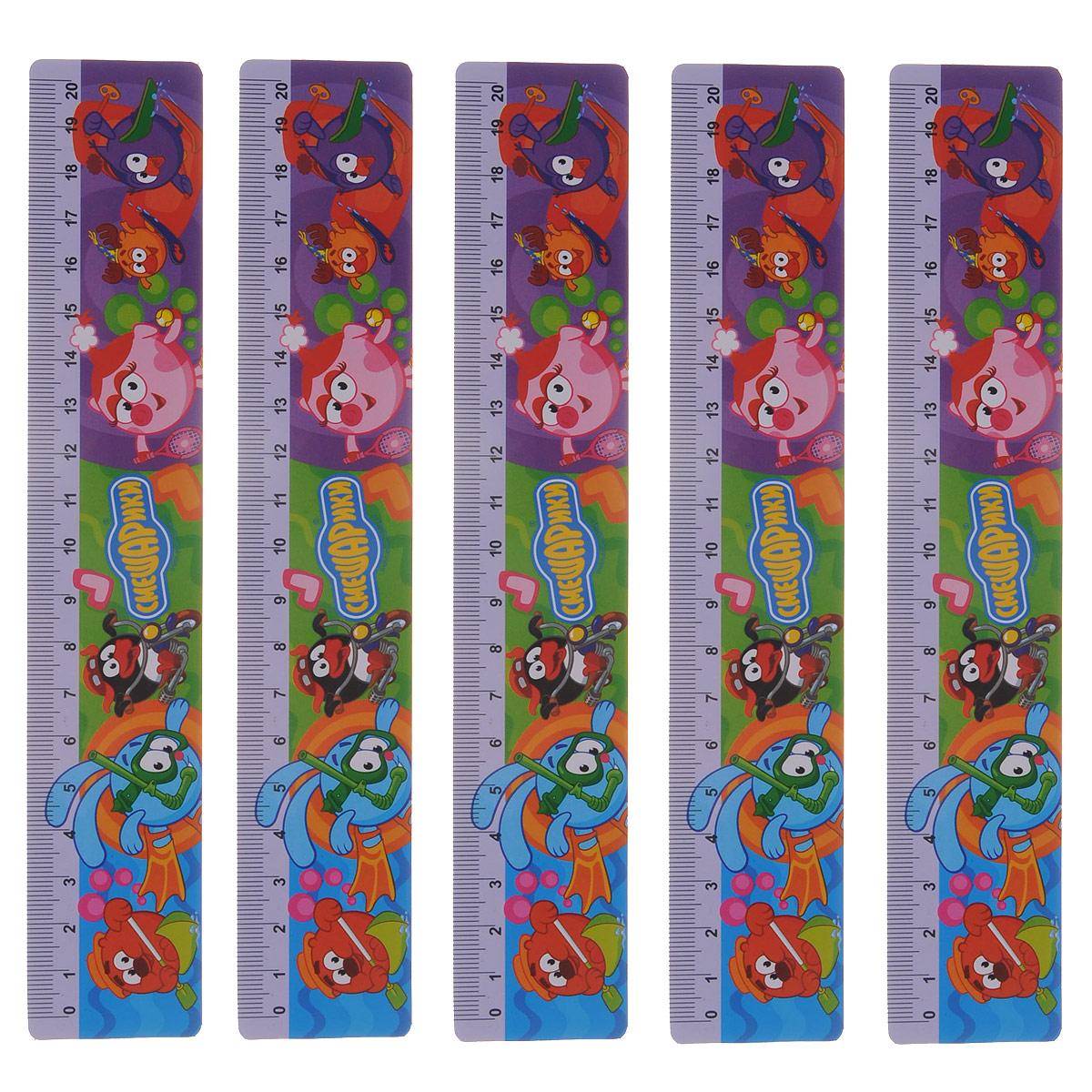 Линейка Centrum Смешарики, 20 см, цвет: фиолетовый, 5 шт84701ОЛинейка Смешарики выполнена из прочного пластика и оформлена изображениями всеми любимых героев мультфильма Смешарики. Линейка имеет сантиметровую шкалу до 20 см. Цифры нанесены крупным шрифтом и не вызывают затруднений при чтении. В комплект входят 5 линеек.Линейка - это незаменимый атрибут, необходимый каждому школьнику или студенту, упрощающий измерение и обеспечивающий ровность проводимых линий. А с линейкой Смешарики учиться будет интересно и весело!