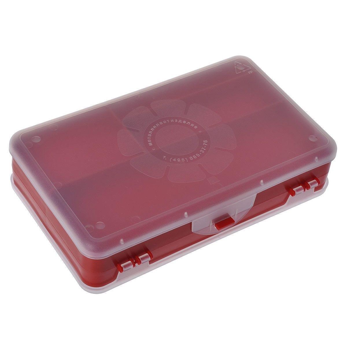 Шкатулка для мелочей Айрис, двухсторонняя, цвет: красный, прозрачный, 21,5 х 12,5 х 5 см 5337582000533758018Шкатулка для мелочей изготовлена из пластика. Шкатулка двухсторонняя, поэтому в ней можно хранить больше мелочей. Подходит для швейных принадлежностей, рыболовных снастей, мелких деталей и других бытовых мелочей. В одном отделении 4 секции, в другом - 5. Удобный и надежный замок-защелка обеспечивает надежное закрывание крышек. Изделие легко моется и чистится. Такая шкатулка поможет держать вещи в порядке.Размер самой большой секции: 21 см х 6 см х 2,3 см.Размер самой маленькой секции: 13 см х 2,3 см х 2,3 см.