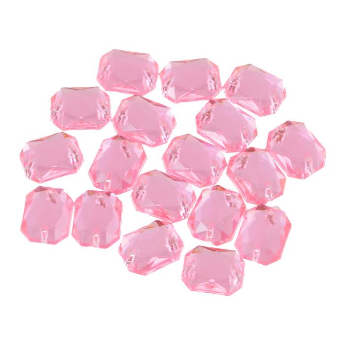 Стразы пришивные Астра, акриловые, прямоугольные, цвет: светло-розовые (03), 8 мм х 10 мм, 18 шт. 7701652_03