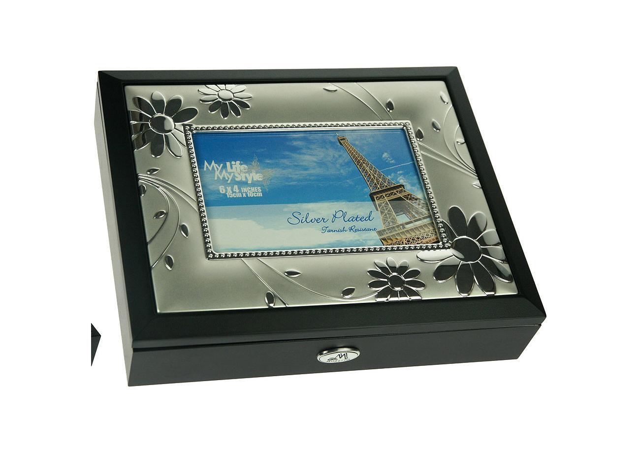 Шкатулка ювелирная Moretto, с фоторамкой, цвет: черный, 24 см х 19 см х 5 см. 139550