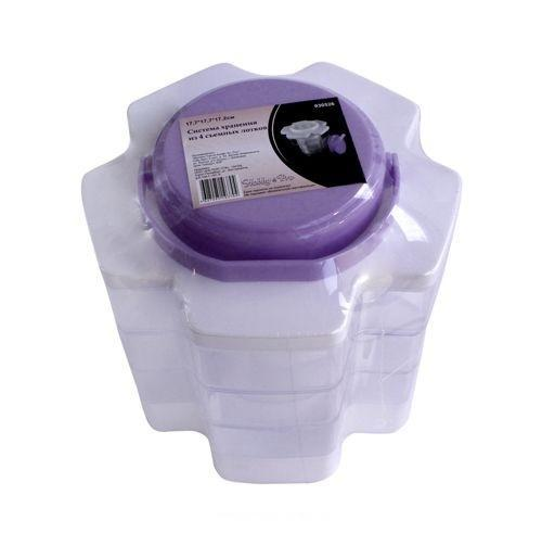 930526 Система хранения из 4 съемных лотков, 17.7*17.7*17.2см Hobby&Pro7706808Контейнер для мелочей изготовлен из прозрачного пластика, что позволяет видеть содержимое. Внутри содержится 20 ячеек для хранения мелких принадлежностей. Крышка плотно закрывается. Такой контейнер поможет держать вещи в порядке. Идеально подходит для хранения принадлежностей для шитья и других мелких бытовых предметов.