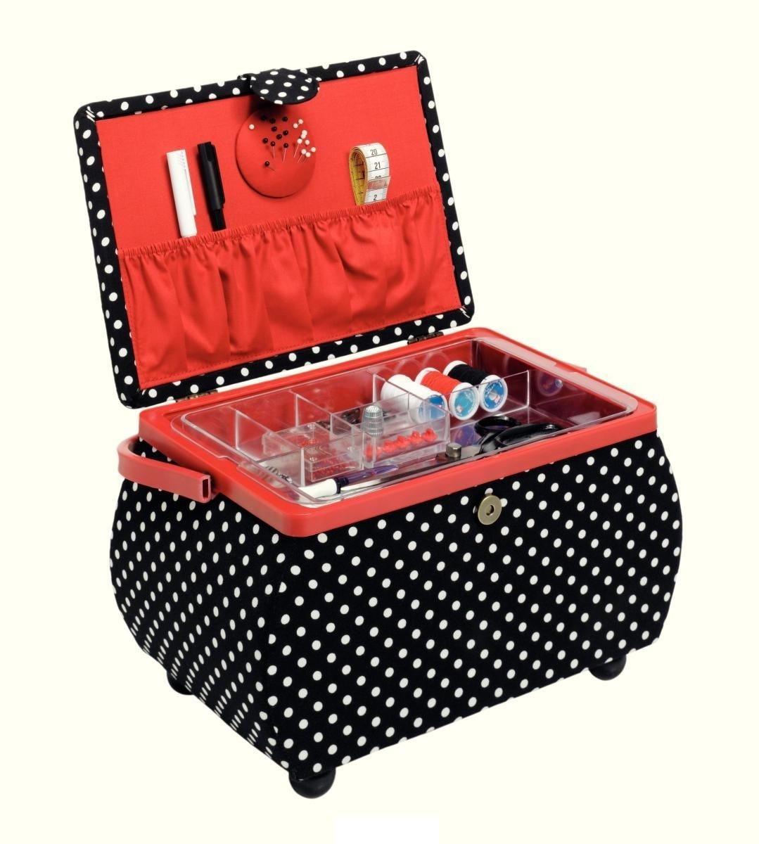 Шкатулка для рукоделия Polka dots (Горошек), цвет: черный, белый, красный, 32 х 20,5 х 20 см4002276122468Шкатулка для рукоделия в форме корзины. Выполнена в отличном дизайне с дуба темного цвета. Здесь вы можете хранить множество безделушек для своего любимого занятия. Отличный подарок на праздник для человека, которого вы любите и уважаете.