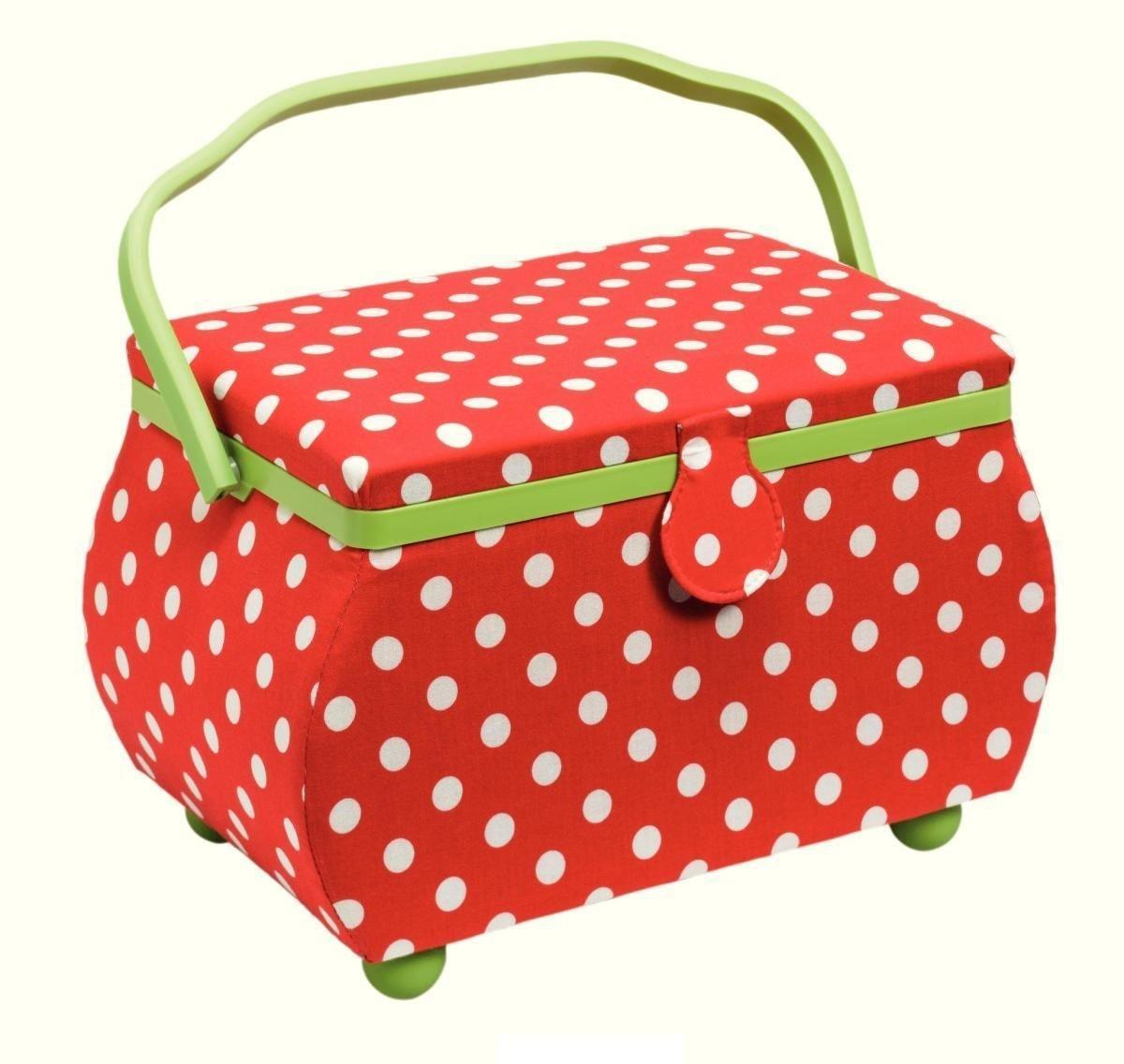 Шкатулка для рукоделия Polka dots (Горошек), цвет: красный, белый, зеленый, 32 см х 20,5 см х 20 см4002276122451Шкатулка для рукоделия в форме корзины. Выполнена в отличном дизайне с дуба темного цвета. Здесь вы можете хранить множество безделушек для своего любимого занятия. Отличный подарок на праздник для человека, которого вы любите и уважаете.