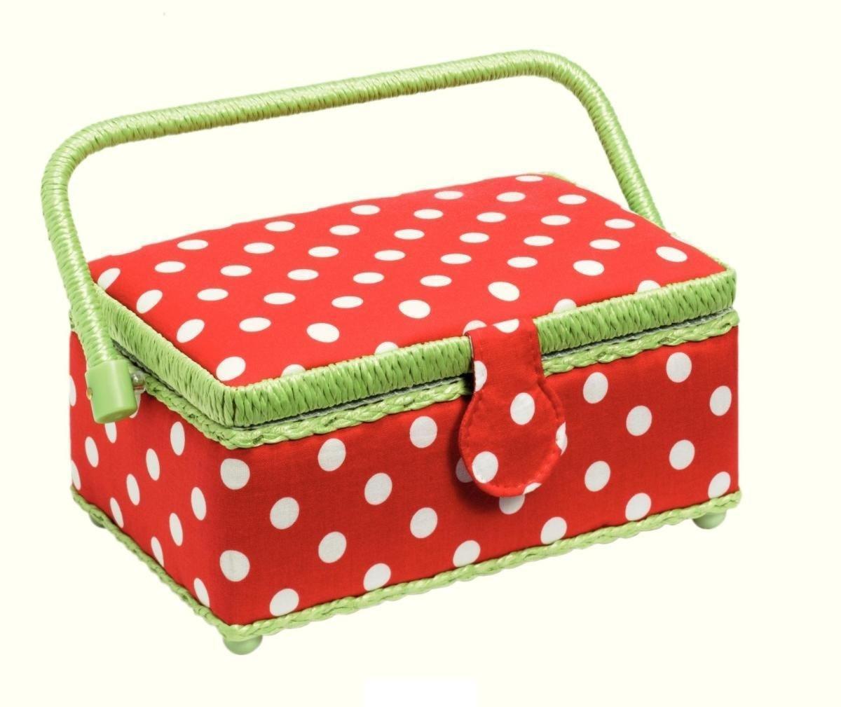 Шкатулка для рукоделия Polka dots (Горошек), цвет: красный, белый, зеленый, 24 х 16 см 11 см4002276122437Шкатулка для рукоделия в форме корзины. Выполнена в отличном дизайне с дуба темного цвета. Здесь вы можете хранить множество безделушек для своего любимого занятия. Отличный подарок на праздник для человека, которого вы любите и уважаете.