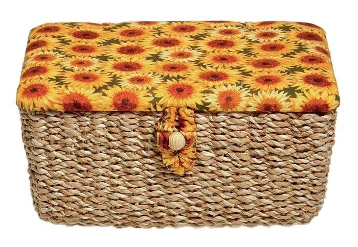 Шкатулка для рукоделия Prym Подсолнухи, цвет: желтый, оранжевый, зеленый шкатулка для рукоделия hobby