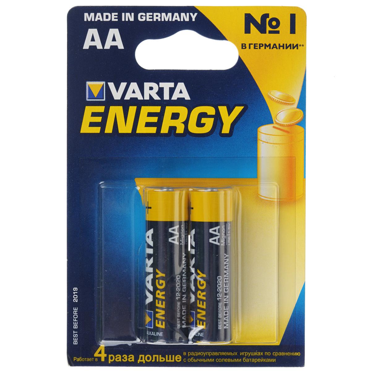 Батарейка Varta Energy, тип АА, 1,5В, 2 шт батарейка varta energy aa блистер 4шт