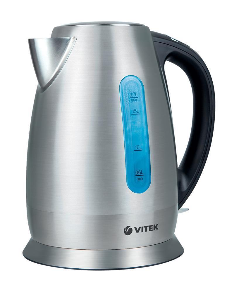 Vitek VT-7024(SR) электрический чайникVT-7024(SR)Ваши любимые горячие напитки станут еще вкуснее, если вы будете кипятить воду в «правильном» электрочайнике. Сделать это легко, быстро и качественно позволит ваш верный помощник электрочайник VT-7018. Выполненный в классическом дизайне, с корпусом из нержавеющей стали, чайник превратится в любимый аксессуар на кухне с любым стилем интерьера. Благодаря мощности 2200 Вт вы вскипятите воду в считанные минуты в, а объем 1,7 л идеально подходит, чтобы радовать всю семью или компанию гостей вкуснейшим чаем. Преимущество данной модели в том, что корпус, крышка и база выполнены из высококачественной нержавеющей стали – это позволит сохранить воде все полезные свойства, а также продлить службу чайника. Устройство также оснащено сертифицированным английским контроллером OTTER – он защищает чайник от перегрева и включения без воды, гарантируя более долгий срок службы. Скрытый нагревательный элемент обеспечивает безопасность во время работы устройства, а также легкий уход за ним. Специальная шкала позволит определить уровень воды в чайнике. Корпус без усилий можно поворачивать на базе благодаря его способности вращаться на 360°, а крышка легко открывается одним нажатием на кнопку. Съемный фильтр от накипи поможет сохранить чистоту воды.