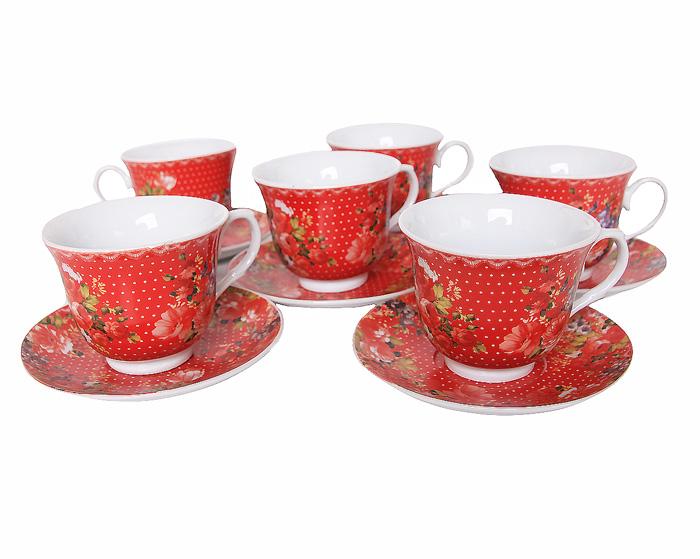 Чайный набор из 12 предметов Алые розы. Фарфор. 2000-е годы creative набор для творчества украшаем чайный сервиз