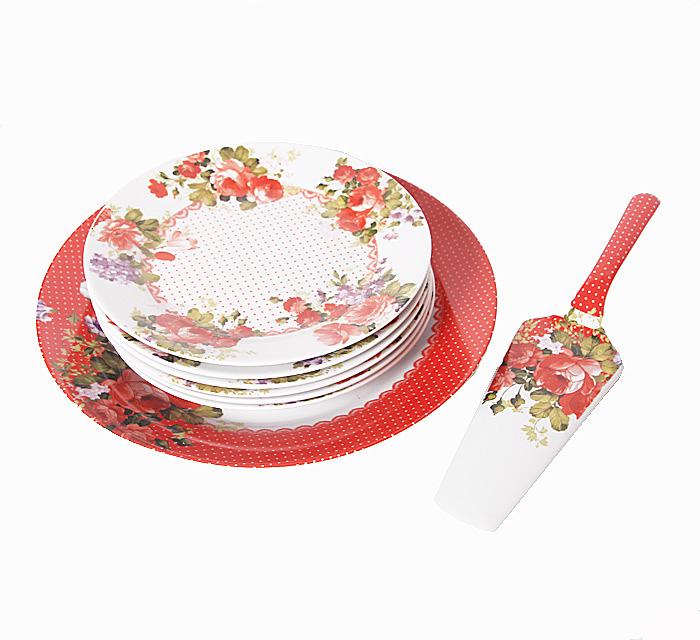 Набор из восьми десертных тарелок и лопатки Алые розы. Фарфор. 2000-е годы555-041Набор из восьми десертных тарелок и лопатки Алые розы. Фарфор. 2000-е годы.Диаметр тарелок 29 и 19 см. Размер лопатки 26 х 6 х 3 см. Сохранность очень хорошая. Изделие не было в использовании.