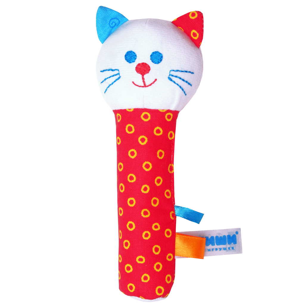 Мягкая игрушка-погремушка Котик мягкая игрушка погремушка мякиши собачка колечко цвет зеленый белый
