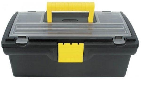 Ящик для инструментов пластиковый FIT, 40,5 см х 21,5 см х 16 см65501Ящик FIT 65501 используется для хранения и комфортной транспортировки различных инструментов, мелких деталей и крепежа. Данная модель отличается компактными габаритами и имеет длину по диагонали 16 дюймов. Также, ящик FIT 65501 изготовлен из пластика и оснащен удобным органайзером с крышкой для хранения мелких деталей и крепежа. Характеристики: Материал:пластик. Размеры ящика: 40,5 см х 21,5 см х 16 см. Глубина ящика: 11 см. Размеры лотка: 39 см х 18 см х 3,5 см. Размеры органайзеров: 36 см х 17 см х 2,5 см. Размеры упаковки: 40,5 см х 21,5 см х 16 см.