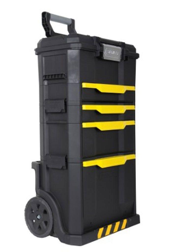 Ящик для инструментов с колесами Stanley Modular Rolling Workshop, 86,6 x 48,8 x 34,8 см1-79-206Ящик с колесами Stanley Modular Rolling Workshop пластмассовый. Съемные секции с расположенными сверху ручками оптимизируют хранение, позволяя брать с собой на место проведения работ только то, что необходимо в конкретном случае Конструкция, в состав которой входят верхний ящик с выдвижным отделением и замком, управляемым одной рукой, секция с двумя выдвижными отделениями (мелким и глубоким) и различной глубиный и нижняя секция с задним карманом для размещения длинных инструментов (ножовка, уровень) представляет собой универсальное решение для хранения инструментов различного размера, а также мелких деталей Задняя телескопическая алюминиевая ручка для удобства транспортировки Выдвижные отделения на подшипниках с механизмом фиксации Характеристики: Материал: пластик, металл. Размеры ящика: 86,6 см x 48,8 см x 34,8 см. Размеры упаковки: 87 см х 49 см х 35 см. Максимальная высота ручки: 80 см.