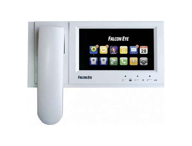 """Falcon Eye FE-71TM цветной видеодомофон4627072780867Цветной Видеодомофон Falcon Eye FE-71 TM. Домофон оснащен цветным широкоформатным сенсорным экраном 7"""" дюймов. Интуитивно понятное русскоязычное меню. FE-71TM работает со всеми распространенными вызывными панелями такими как Activision, Commax, Falcon Eye. Видеодомофон поддерживает подключение 2-х цветных вызывных панелей и 2-х цветных камер видеонаблюдения. Возможно подключение до 4-х мониторов параллельно. Запись видео/фото по детектору движения. Запись видео/фото ведется на съемную SD карточку. Функция автоответчика и фоторамки. Возможность подключения к подъездной системе домофонии (через дополнительный блок сопряжения).А так же компания Falcon Eye выпускает видеодомофон FE-71TM уже со встроенными блоками сопряжения для удобства подключения к подъездной линии домофонии.FE-71TMкрепится на стену накладным способом, на кронштейн, который идет в комплекте поставки видеодомофона. Питание видеодомофона осуществляется от встроенного блока питания."""