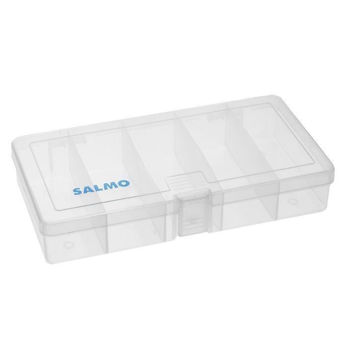"""Удобная коробка """"Salmo 87"""" для хранения и транспортировки приманок и рыболовных принадлежностей позволит максимально защитить ее содержимое от попадания загрязнений и влаги.Коробка выполнена из прозрачного пластика и содержит 5 отсеков. Благодаря своему небольшому размеру она компактна и не занимает много места."""