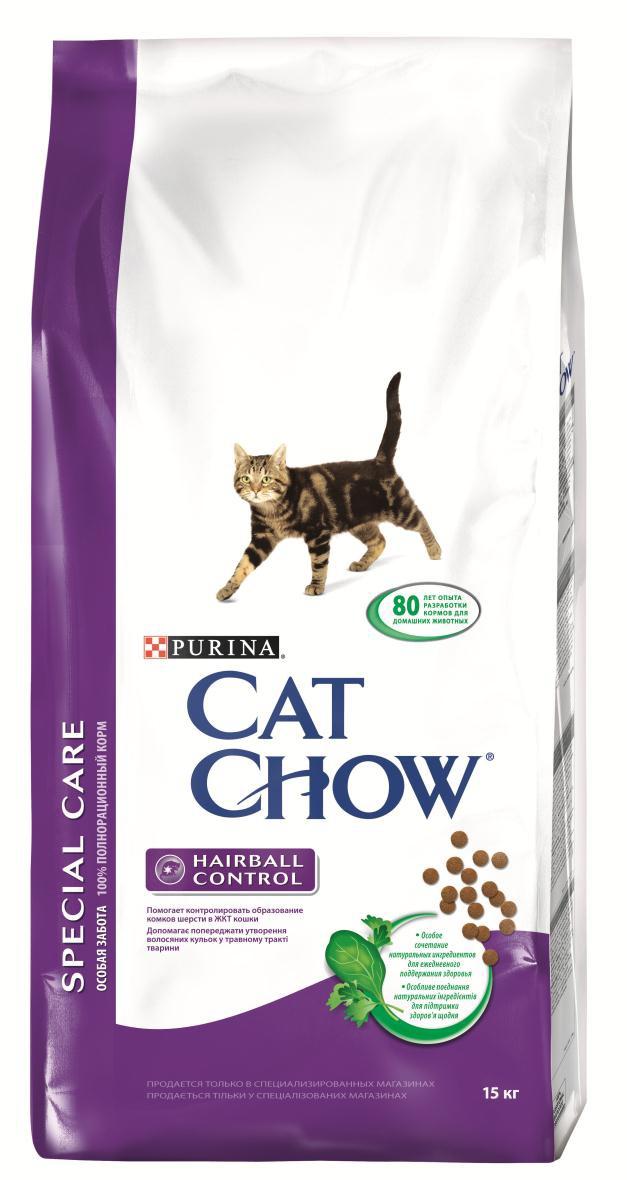 Корм сухой для кошек Cat Chow Special Care, контроль шерсти, 15 кг12147110Корм сухой Cat Chow Special Care - полнорационный корм для взрослых кошек, помогающий контролировать образование комков шерсти в желудочно-кишечном тракте. Сама природа вдохновляет компанию PURINA на разработку кормов, которые максимально отвечают потребностям ваших питомцев, с учетом их природных инстинктов. Имея более чем 80-ти летний опыт в области питания животных, PURINA создала новый корм Cat Chow - полностью сбалансированный корм, который не только доставит удовольствие вашей кошке, но и будет полезным для ее здоровья. Особенности корма Cat Chow Special Care:Высокое содержание мяса, с источниками высококачественного белка в каждой порции для поддержания оптимальной массы тела. Особое сочетание натуральных ингредиентов: тщательно отобранные травы и овощи (петрушка, шпинат, морковь, горох). Отборные ингредиенты придают особый аромат. Высокое содержание витамина Е для поддержания естественной защиты организма питомца. Содержит мякоть свеклы и цикорий для поддержания здорового пищеварения и уменьшения запаха от туалетного лотка. Специальная формула с добавлением источников пищевых волокон для контроля образования комков шерсти в желудочно-кишечном тракте. В особенности подходит для животных, живущих в помещении. Состав: злаки, мясо и субпродукты (мясо 14%), экстракт растительного белка, продукты переработки овощей (сухая мякоть свеклы 2,7%, петрушка 0,4%), масла и жиры, овощи (сухой корень цикория 2%, морковь 1,3%, шпинат 1,3%, зеленый горох 1,3%), рыба и продукты переработки рыбы, минеральные вещества, дрожжи. Добавленные вещества (на 1 кг): витамин А 14000 МЕ; витамин D3 1200 МЕ; витамин Е 100 МЕ, железо 55 мг; йод 1,4 мг; медь 10 мг; марганец 5 мг; цинк 70 мг; селен 0,07 мг. С антиокислителями. Гарантируемые показатели: белок 34%, жир 12%, сырая зола 7,5%, сырая клетчатка 5%.Товар сертифицирован.