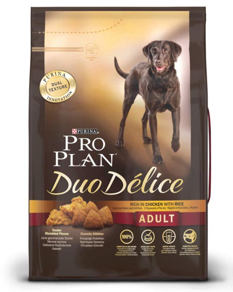 Корм сухой для собак Pro Plan Duo Delice, с курицей и рисом, 2,5 кг12176334Сухой корм Pro Plan Duo Delice - это полнорационный корм для взрослых собак, с курицей и рисом. Корм обеспечивает правильный баланс питательных веществ для поддержания здоровья и хорошего самочувствия взрослых собак. Тщательно отобранные ингредиенты и специально разработанный процесс приготовления обеспечивают высокую усвояемость корма, благодаря чему собаки получают необходимые им питательные вещества. Собаки обожают инновационное сочетание хрустящих крокет и мягких кусочков, в которых основным ингредиентом является курица. Уникальное сочетание хрустящих крокет и мягких кусочков побуждает собаку с удовольствием пережевывать корм. Механическое воздействие хрустящих крокет на зубы вашей собаки, действует как зубная щетка, тем самым способствует уменьшению отложения зубного камня. Содержащаяся в корме клетчатка помогает поддерживать здоровье пищеварительного тракта, помогает улучшить качество стула, а белок из специально выбранных ингредиентов легко усваивается организмом собаки. Состав: курица (17%), пшеница, кукуруза, сухой белок птицы, животный жир, пшеничный глютен, сухая мякоть свеклы, кукурузная крупа, рис (4%), минеральные вещества, вкусоароматическая кормовая добавка, пропиленгликоль, яичный порошок, рыбий жир, солодовая мука. Добавленные вещества (на 1 кг): витамин А 28200 МЕ; витамин D3 920 МЕ; витамин Е 610 МЕ; витамин С 220 мг; моногидрат сульфата железа 220 мг; йодат кальция 2,9 мг; сульфат медь 45 мг; моногидрат сульфата марганца 90 мг; моногидрат сульфата цинка 380 мг; селенит натрия 0,27 мг. Технологические добавки: экстракт токоферолов натурального происхождения 40 мг/кг. Гарантируемые показатели: белок 25%, жир 16%, сырая зола 8%, сырая клетчатка 2%, омега-3 жирные кислоты 0,3%, омега-6 жирные кислоты 2,1%. Товар сертифицирован.