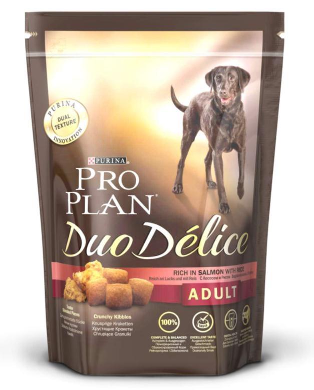 Корм сухой для собак Pro Plan Duo Delice, с лососем и рисом, 700 г12202611Сухой корм Pro Plan Duo Delice - это полнорационный корм для взрослых собак, с лососем и рисом. Корм обеспечивает правильный баланс питательных веществ для поддержания здоровья и хорошего самочувствия взрослых собак. Тщательно отобранные ингредиенты и специально разработанный процесс приготовления обеспечивают высокую усвояемость корма, благодаря чему собаки получают необходимые им питательные вещества. Собаки обожают инновационное сочетание хрустящих крокет и мягких кусочков, в которых основным ингредиентом является лосось. Уникальное сочетание хрустящих крокет и мягких кусочков побуждает собаку с удовольствием пережевывать корм. Механическое воздействие хрустящих крокет на зубы вашей собаки, действует как зубная щетка, тем самым способствует уменьшению отложения зубного камня. Содержащаяся в корме клетчатка помогает поддерживать здоровье пищеварительного тракта, помогает улучшить качество стула, а белок из специально выбранных ингредиентов легко усваивается организмом собаки. Состав: лосось (15%), пшеница, кукуруза, сухой белок птицы, животный жир, пшеничный глютен, сухая мякоть свеклы, кукурузная крупа, рис (4%), минеральные вещества, вкусоароматическая кормовая добавка, пропиленгликоль, яичный порошок, рыбий жир, солодовая мука. Добавленные вещества (на 1 кг): витамин А 28200 МЕ; витамин D3 920 МЕ; витамин Е 610 МЕ; витамин С 220 мг; моногидрат сульфата железа 220 мг; йодат кальция 2,9 мг; сульфат медь 45 мг; моногидрат сульфата марганца 90 мг; моногидрат сульфата цинка 380 мг; селенит натрия 0,27 мг. Технологические добавки: экстракт токоферолов натурального происхождения 40 мг/кг. Гарантируемые показатели: белок 25%, жир 16%, сырая зола 8%, сырая клетчатка 2%, омега-3 жирные кислоты 0,5%, омега-6 жирные кислоты 1,8%. Товар сертифицирован.