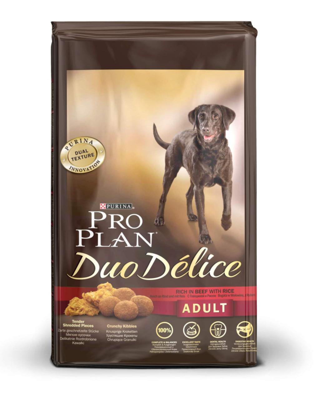 Корм сухой для собак Pro Plan Duo Delice, с говядиной и рисом, 10 кг12202614Сухой корм Pro Plan Duo Delice - это полнорационный корм для взрослых собак, с говядиной и рисом. Корм обеспечивает правильный баланс питательных веществ для поддержания здоровья и хорошего самочувствия взрослых собак. Тщательно отобранные ингредиенты и специально разработанный процесс приготовления обеспечивают высокую усвояемость корма, благодаря чему собаки получают необходимые им питательные вещества. Собаки обожают инновационное сочетание хрустящих крокет и мягких кусочков, в которых основным ингредиентом является говядина. Уникальное сочетание хрустящих крокет и мягких кусочков побуждает собаку с удовольствием пережевывать корм. Механическое воздействие хрустящих крокет на зубы вашей собаки, действует как зубная щетка, тем самым способствует уменьшению отложения зубного камня. Содержащаяся в корме клетчатка помогает поддерживать здоровье пищеварительного тракта, помогает улучшить качество стула, а белок из специально выбранных ингредиентов легко усваивается организмом собаки. Состав: говядина (17%), пшеница, кукуруза, сухой белок птицы, животный жир, пшеничный глютен, сухая мякоть свеклы, кукурузная крупа, рис (4%), минеральные вещества, вкусоароматическая кормовая добавка, пропиленгликоль, яичный порошок, рыбий жир, солодовая мука. Добавленные вещества (на 1 кг): витамин А 28200 МЕ; витамин D3 920 МЕ; витамин Е 610 МЕ; витамин С 220 мг; моногидрат сульфата железа 220 мг; йодат кальция 2,9 мг; сульфат медь 45 мг; моногидрат сульфата марганца 90 мг; моногидрат сульфата цинка 380 мг; селенит натрия 0,27 мг. Технологические добавки: экстракт токоферолов натурального происхождения 50 мг/кг. Гарантируемые показатели: белок 25%, жир 16%, сырая зола 8%, сырая клетчатка 2%, омега-3 жирные кислоты 0,3%, омега-6 жирные кислоты 1,6%. Товар сертифицирован.