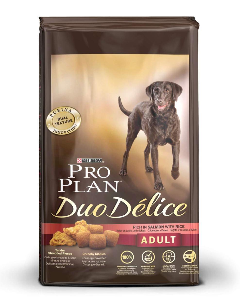 Корм сухой для собак Pro Plan Duo Delice, с лососем и рисом, 10 кг12202615Сухой корм Pro Plan Duo Delice - это полнорационный корм для взрослых собак, с лососем и рисом. Корм обеспечивает правильный баланс питательных веществ для поддержания здоровья и хорошего самочувствия взрослых собак. Тщательно отобранные ингредиенты и специально разработанный процесс приготовления обеспечивают высокую усвояемость корма, благодаря чему собаки получают необходимые им питательные вещества. Собаки обожают инновационное сочетание хрустящих крокет и мягких кусочков, в которых основным ингредиентом является лосось. Уникальное сочетание хрустящих крокет и мягких кусочков побуждает собаку с удовольствием пережевывать корм. Механическое воздействие хрустящих крокет на зубы вашей собаки, действует как зубная щетка, тем самым способствует уменьшению отложения зубного камня. Содержащаяся в корме клетчатка помогает поддерживать здоровье пищеварительного тракта, помогает улучшить качество стула, а белок из специально выбранных ингредиентов легко усваивается организмом собаки. Состав: лосось (15%), пшеница, кукуруза, сухой белок птицы, животный жир, пшеничный глютен, сухая мякоть свеклы, кукурузная крупа, рис (4%), минеральные вещества, вкусоароматическая кормовая добавка, пропиленгликоль, яичный порошок, рыбий жир, солодовая мука. Добавленные вещества (на 1 кг): витамин А 28200 МЕ; витамин D3 920 МЕ; витамин Е 610 МЕ; витамин С 220 мг; моногидрат сульфата железа 220 мг; йодат кальция 2,9 мг; сульфат медь 45 мг; моногидрат сульфата марганца 90 мг; моногидрат сульфата цинка 380 мг; селенит натрия 0,27 мг. Технологические добавки: экстракт токоферолов натурального происхождения 40 мг/кг. Гарантируемые показатели: белок 25%, жир 16%, сырая зола 8%, сырая клетчатка 2%, омега-3 жирные кислоты 0,5%, омега-6 жирные кислоты 1,8%. Товар сертифицирован.