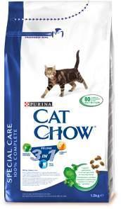 Корм сухой для кошек Cat Chow Feline, с формулой тройного действия, 1,5 кг сухой корм cat chow для кошек с чувствительным пищеварением и чувствительной кожей 15кг