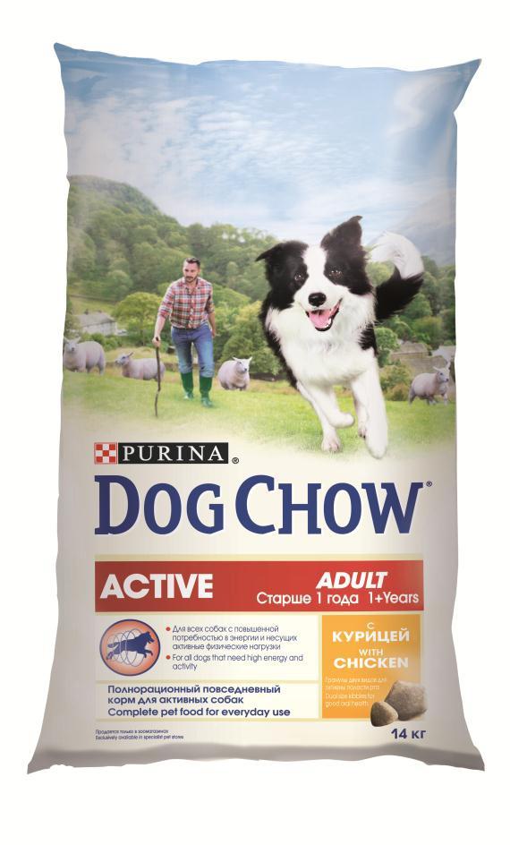 Корм сухой Dog Chow Active для активных взрослых собак, с курицей, 14 кг12233248Рецептура корма Dog Chow составлена таким образом, чтобы ваша взрослая собака получала необходимое количество питательных веществ, для удовлетворения своих энергетических потребностей. Корм содержит натуральный пребиотик, улучшающий работу пищеварительной системы. Гранулы двух видов для гигиены ротовой рта. Оптимальное содержание белка для обеспечения продолжающегося формирования крепкой мускулатуры у вашей активной взрослой собаки. Необходимые минеральные элементы и витамины для формирования крепких зубов и костей. Состав: злаки, мясо и продукты переработки мяса (8%), продукты переработки сырья растительного происхождения, масла и жиры, экстракт растительного белка, минеральные вещества, витамины, антиоксиданты. Добавленные вещества (на 1 кг): витамин А 24150 МЕ, витамин D3 1380 МЕ, витамин Е 115 МЕ, железо 100,3 мг, йод 2,5 мг, медь 11,1 мг, марганец 7,6 мг, цинк 180 мг, селен 0,25 мг. Гарантируемые показатели: белок 27%, жир 13%, сырая зола 8%, сырая клетчатка 3%.Вес: 14 кг. Товар сертифицирован.