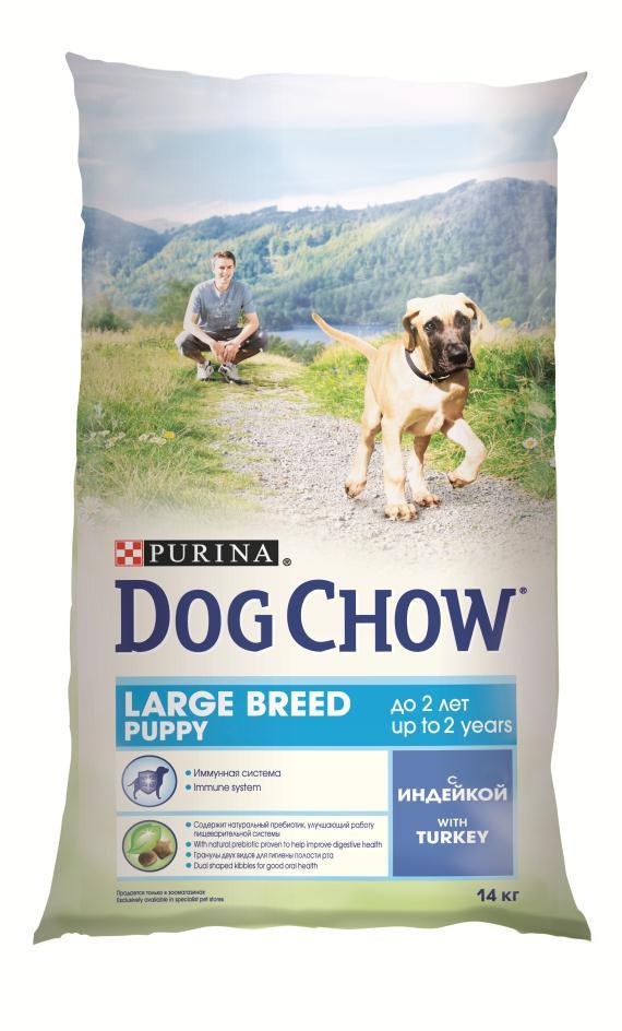 Корм сухой Dog Chow для щенков крупных пород, с индейкой, 14 кг12233250Корм сухой Dog Chow - полнорационный и сбалансированный корм для щенков крупных пород до 2 лет с индейкой. Подходит для кормления беременных и лактирующих собак крупных пород. Высокое содержание мяса. Создан специально для поддержания естественных защитных механизмов и обеспечения правильного роста щенков крупных пород (ожидаемая масса тела взрослой собаки >25 кг). Иммунная система. Корм содержит витамин Е, который в качестве антиоксиданта участвует в борьбе со свободными радикалами и укрепляет естественную защиту организма. Необходимые минеральные элементы и витамины для формирования крепких зубов и костей. Оптимальное соотношение белков и жиров для гармоничного роста вашего щенка крупной породы. Содержит омега-3 жирную кислоту, необходимую для развития головного мозга и зрительного аппарата. Гранулы двух видов помогают щенку научиться пережевывать пищу, что способствует формированию правильного пищевого поведения, обеспечивает достаточное потребление калорий и гигиену ротовой полости с первых дней жизни. Наши диетологи тщательно протестировали это сочетание гранул для гарантии того, что они подходят и нравятся собакам различных пород. Содержит натуральный пребиотик, улучшающий работу пищеварительной системы. В состав кормов входит цикорий - источник натурального пребиотика, который, как показали исследования, способствует росту численности полезных кишечных бактерий и нормализации деятельности пищеварительной системы. Через 30 дней питания кормом Dog Chow количество бифидобактерий может возрастать в 100 раз, помогая Вашей собаке сохранять хорошее пищеварение. Состав: злаки, мясо и продукты переработки мяса (8%), продукты переработки сырья растительного происхождения, масла и жиры, экстракт растительного белка, овощи (сухой корень цикория), минеральные вещества, витамины, антиоксиданты. Добавленные вещества (на 1 кг): витамин А 22600 МЕ, витамин D3 1300 МЕ, витамин Е 105 МЕ, железо 93,9 мг, йод 