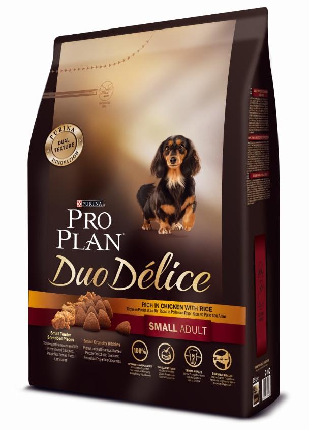 Корм сухой Pro Plan Duo Delice для собак мелких и карликовых пород, с курицей и рисом, 2,5 кг12251941Сухой корм Pro Plan Duo Delice - это полнорационный корм для взрослых собак мелких и карликовых пород. Это первый корм для собак, сочетающий в себе безупречные питательные свойства вместе с исключительным вкусом. Он состоит из уникального комплекса питательных хрустящих гранул и нежных измельченных кусочков мяса, которые собаки просто обожают. Состав: курица (17%), пшеница, кукуруза, сухой белок птицы, животный жир, пшеничный глютен, сухая мякоть свеклы, рис (4%), минеральные вещества, вкусоароматическая кормовая добавка, пропиленгликоль, яичный порошок, рыбий жир, солодовая мука, витамины. Добавленные вещества (на 1 кг): витамин А 28200 МЕ; витамин D3 920 МЕ; витамин Е 550 МЕ; витамин С 140 мг; железо 75 мг; йод 1,9 мг; медь 10 мг; марганец 35 мг; цинк 140 мг; селен 0,12 мг. Технологические добавки: экстракт токоферолов натурального происхождения 50 мг/кг. Гарантируемые показатели: белок 27%, жир 17%, сырая зола 8%, сырая клетчатка 2%. Товар сертифицирован.