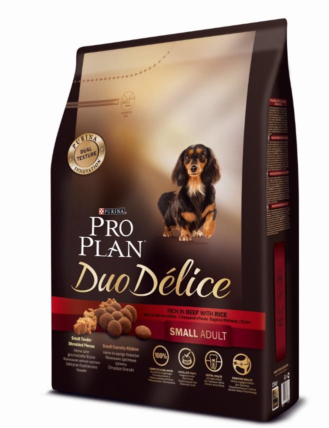Корм сухой Pro Plan Duo Delice для собак мелких и карликовых пород, с говядиной и рисом, 2,5 кг12251945Сухой корм Pro Plan Duo Delice - это полнорационный корм для взрослых собак мелких и карликовых пород. Это первый корм для собак, сочетающий в себе безупречные питательные свойства вместе с исключительным вкусом. Он состоит из уникального комплекса питательных хрустящих гранул и нежных измельченных кусочков мяса, которые собаки просто обожают. Состав: говядина (17%), пшеница, кукуруза, сухой белок птицы, животный жир, пшеничный глютен, сухая мякоть свеклы, рис (4%), минеральные вещества, вкусоароматическая кормовая добавка, пропиленгликоль, яичный порошок, рыбий жир, солодовая мука, витамины. Добавленные вещества (на 1 кг): витамин А 28200 МЕ; витамин D3 920 МЕ; витамин Е 550 МЕ; витамин С 140 мг; железо 75 мг; йод 1,9 мг; медь 10 мг; марганец 35 мг; цинк 140 мг; селен 0,12 мг. Технологические добавки: экстракт токоферолов натурального происхождения 60 мг/кг. Гарантируемые показатели: белок 27%, жир 17%, сырая зола 8%, сырая клетчатка 2%. Товар сертифицирован.