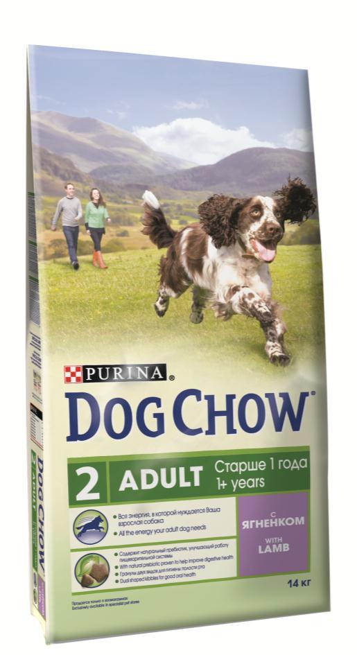 Корм сухой Dog Chow Adult для взрослых собак, с ягненком, 2,5 кг корм dog chow senior ягненок 2 5kg для собак старше 9 лет 12308782