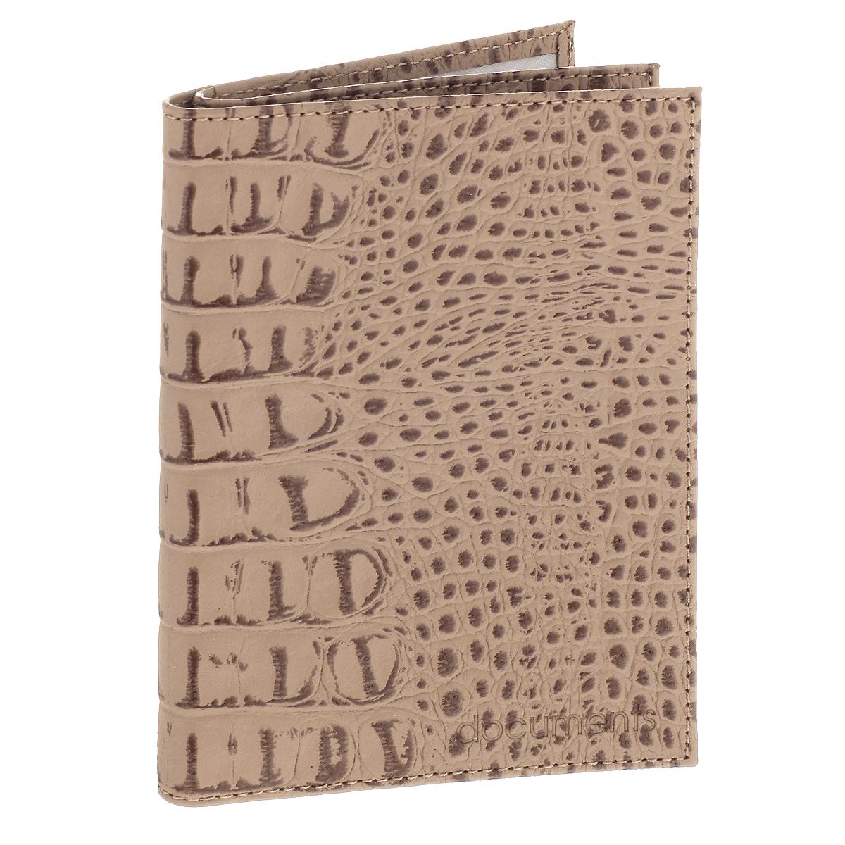 Бумажник водителя Befler, цвет: бежевый. BV.22.-13Натуральная кожаУльтрамодный бумажник водителя Befler изготовлен из натуральной кожи и декорирован тиснением под рептилию. Изделие с обеих сторон дополнено тиснеными надписями. В бумажнике два отделения. Первое предназначено для автодокументов, содержит съемный блок из 6 прозрачных файлов и два боковых кармана (один - с окошком из пластика). Второе - для паспорта, содержит два боковых прозрачных кармана, которые обеспечат надежную фиксацию вашего документа. Изделие упаковано в фирменную коробку.Такой бумажник не только защитит ваши документы, но и станет стильным аксессуаром, который прекрасно дополнит образ.
