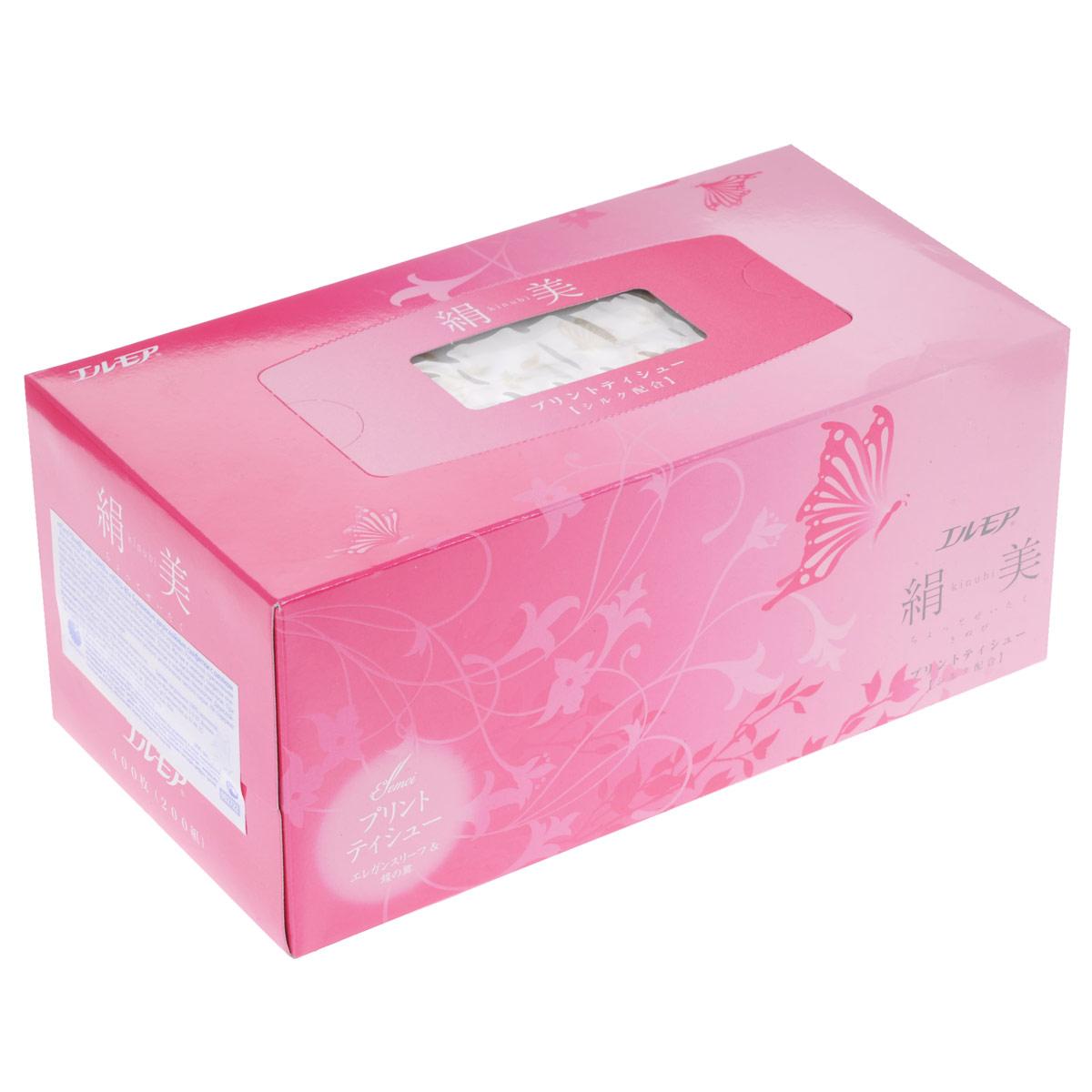 Салфетки бумажные Ellemoi Kinu-bi, двухслойные, с шелком, цвет упаковки: розовый, 200 шт002722Салфетки бумажные Ellemoi Kinu-bi изготовлены из натуральной 100% целлюлозы, экологически чистого сырья. Салфетки мягкие и нежные. Салфетки премиум класса с роскошным принтом из цветов сакуры цвета шампанского, в элегантной упаковке с добавлением шелковых волокон.Обладают высокими потребительскими свойствами, хорошо впитывают и удерживают жидкость. Салфетки бумажные Ellemoi Kinu-bi удобны, практичны и эффективны в любой ситуации. Не хранить в местах с повышенной влажностью. Не содержат флуоресцентных добавок и осветлителей.