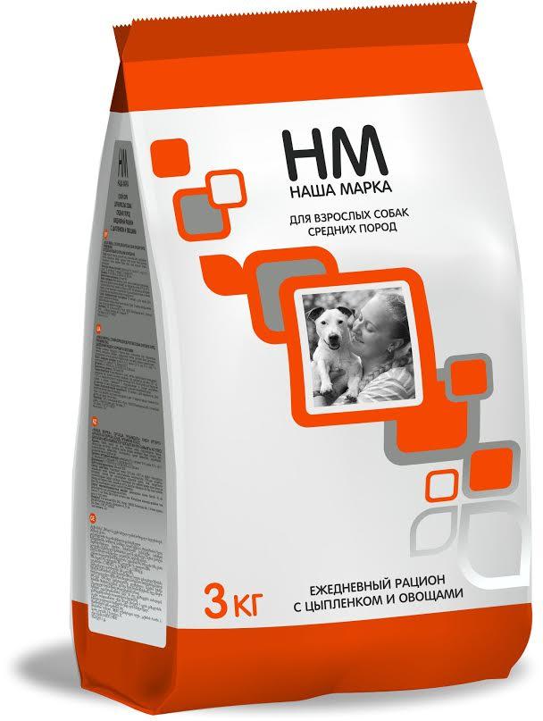 Корм сухой Наша Марка для взрослых собак средних пород, с цыпленком и овощами, 3 кг корм сухой brit premium senior m для пожилых собак средних пород с курицей 3 кг