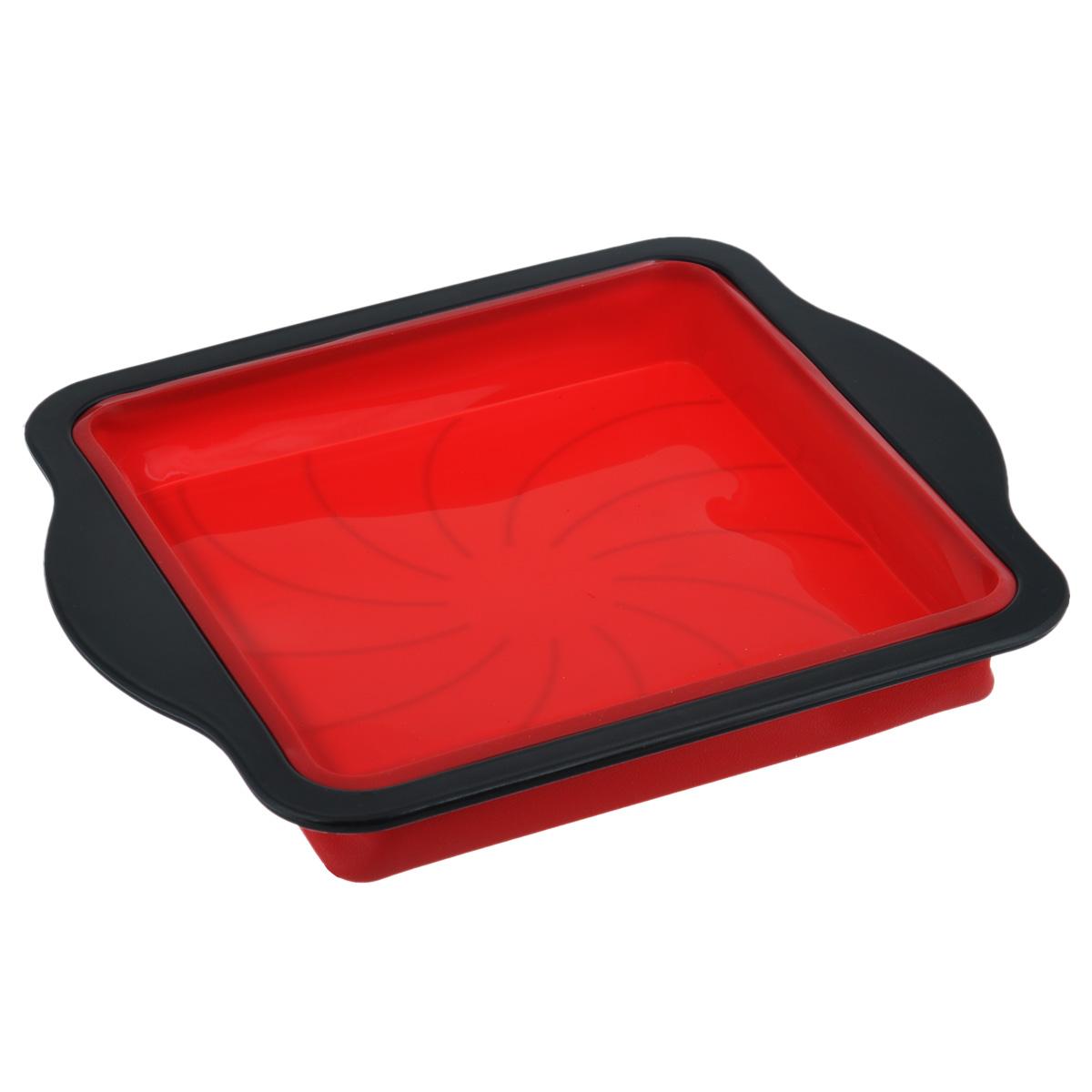Форма для пирога Mayer & Boch, квадратная, цвет: черный, красный, 32,5 см х 28 см форма для запекания ceraflame цвет красный 31 см х 21 см
