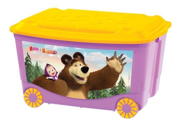 Ящик для игрушек Маша и медведь, на колесах, цвет: сиреневый, желтый, 58 см х 39 см х 35 смC13794Яркий и оригинальный ящик на колесах с забавными персонажами непременно привлечет внимание ребенка и станет незаменимым для хранения игрушек, книжек и других детских принадлежностей. Он отлично впишется в детскую комнату и поможет приучить ребенка к порядку. 2-х цветные колеса ящика покрыты специальным эластичным материалом, который увеличивает устойчивость и снижает шум при соприкосновении с различными напольными покрытиями. У ящика имеются удобные ручки для переноски, а также специальные отверстия, через которые можно продеть тесьму или веревку, чтобы ребенок мог легко передвигать его. Крышка ящика декорирована геометрическими фигурами. Ящик безопасен благодаря своей форме с закругленными углами. Конструкция замков позволяет фиксировать крышку, что препятствует попаданию пыли, влаги, насекомых. Ящики хорошо штабелируются. Характеристики:Материал: пластик. Цвет: оранжевый, желтый. Размер ящика: 58 см х 39 см х 35 см. Артикул: C13794.