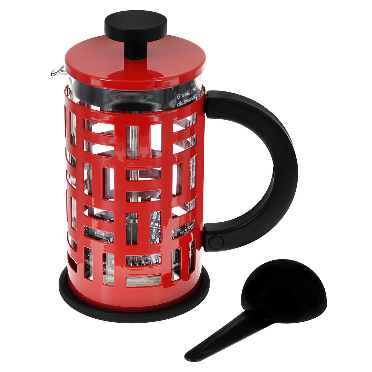Кофейник Bodum Eileen с прессом, цвет: красный, 350 мл11198-294Кофейник Bodum Eileen имеет жаропрочный, теплосберегающий узкий стеклянный цилиндр и поршень, нижняя часть которого соединена с сетчатым металлическим фильтром. Кофейник изготовлен на основе технологии «френч-пресс». Кофейник Bodum Eileen имеет удобную ручку, изготовленную из пластика. Коспус кофейника, изготовлен из нержавеющей стали, в оригинальном стиле.Свое название кофейник приобрел, благодаря гениальному дизайнеру Эйлин Грей (Eileen Gray) .Стиль Эйлин, схож со стилем Bodum. Она работала с металлом и создавала простые и лаконичные формы. Кофейник можно наблюдать во многих кафе Парижа.Кофейник с прессом Bodum Eileen добавит вашему домашнему интерьеру французского шарма. Не применять на плите.Мешать кофе пластмассовой ложкой (входит в комплект).Сильно не давить на пресс.Все детали пригодны для мытья в посудомоечной машине. Диаметр чайника: 8 см.Высота: 16,5 см.