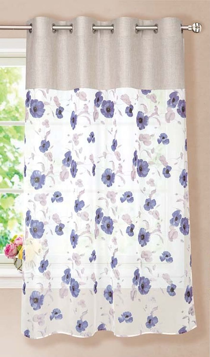 Штора готовая для кухни Garden, на кольцах, цвет: темно-синий, размер 150*180 см. С 10213 -W191 -W1222С10213- W191-W1222V13Элегантная тюлевая штора Garden выполнена из вуали (полиэстера). Сочетание плотной и полупрозрачной ткани, приятная цветовая гамма, цветочный принт привлекут к себе внимание и органично впишутся в интерьер помещения. Такая штора идеально подходит для солнечных комнат. Мягко рассеивая прямые лучи, она хорошо пропускает дневной свет и защищает от посторонних глаз. Отличное решение для многослойного оформления окон. Эта штора будет долгое время радовать вас и вашу семью!Штора крепится на карниз при помощи металлических колец, которые помогут красиво и равномерно задрапировать верх.