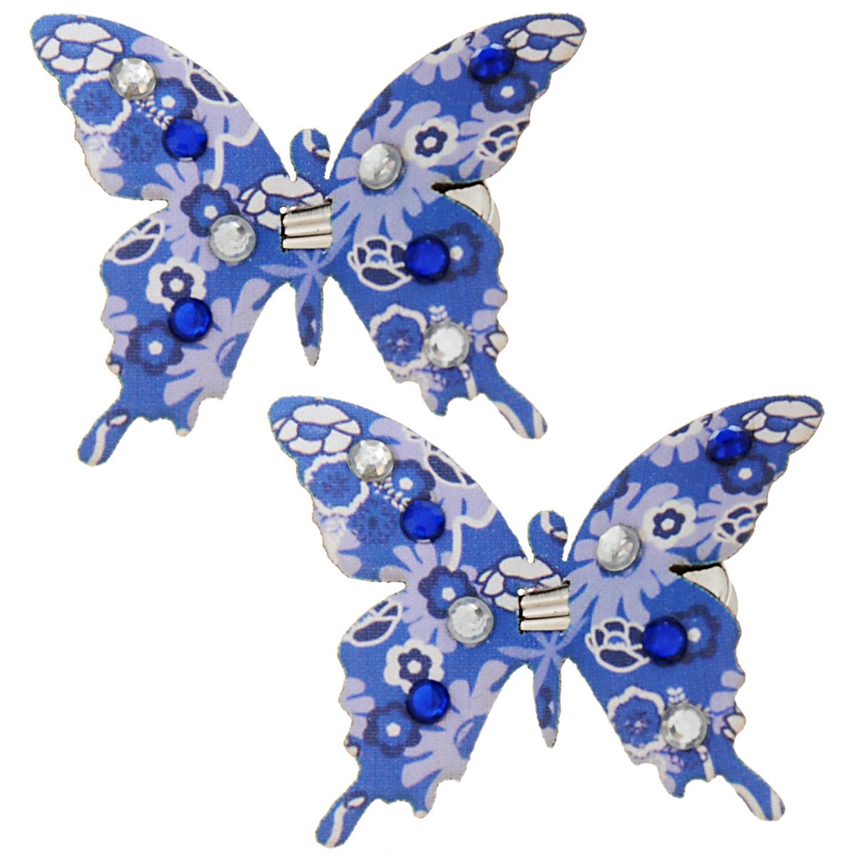 Набор декоративных элементов Hobby Time Бабочки, цвет: синий, 5 см х 4,5 см, 2 шт. 77054937705493Набор декоративных элементов Hobby Time Бабочки, изготовленный из текстиля, предназначен для декорирования. Он может пригодиться в оформлении одежды, предметов интерьера, подарков, цветочных букетов, а также в скрапбукинге. В наборе - 2 элемента. Изделия выполнены в виде бабочек, декорированных цветочным принтом и стразами. С оборотной стороны бабочки оснащены металлическими клипсами. Размер: 5 см х 4,5 см.