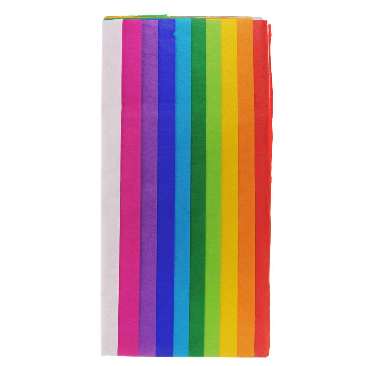 Бумага папиросная Folia, 50 х 70 см, 10 листов. 77081227708122Бумага папиросная Folia - это великолепная тонкая и эластичная декоративная бумага. Такая бумага очень хороша для изготовления своими руками цветов и букетов с конфетами, топиариев, декорирования праздничных мероприятий. Также из нее получается шикарная упаковка для подарков. Интересный эффект дает сочетание мягкой полупрозрачной фактуры папиросной бумаги с жатыми и матовыми фактурами: креп-бумагой, тутовой и различными видами картона. Бумага очень тонкая, полупрозрачная - поэтому ее можно оригинально использовать в декоре стекла, светильников и гирлянд. В комплекте 10 листов разных цветов: белый, розовый, сиреневый, фиолетовый, голубой, зеленый, салатовый, желтый, оранжевый, красный.Достаточно большие размеры листа и богатая цветовая палитра дают простор вашей творческой фантазии.Размер листа: 50 см х 70 см.Плотность: 20 г/м2.