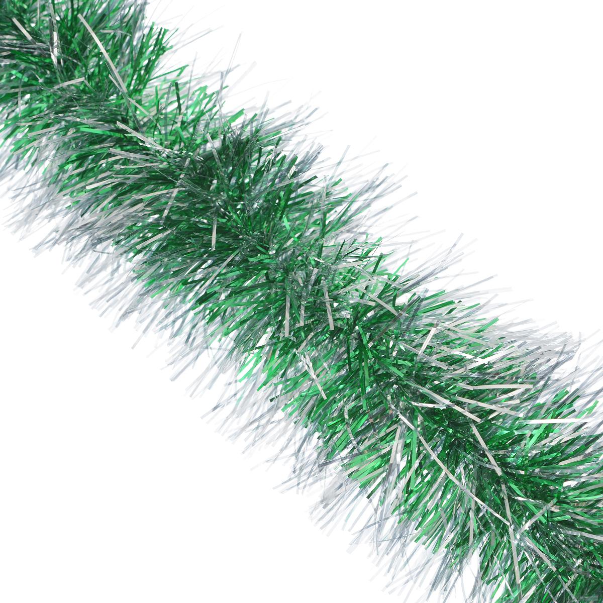 Мишура новогодняя Sima-land, цвет: зеленый, серебристый, диаметр 10 см, длина 160 см. 623233623233Мишура новогодняя Sima-land, выполненная из фольги, поможет вам украситьсвой дом к предстоящим праздникам. Мишура армирована, то есть имеетпроволоку внутри и способна сохранять приданную ейформу. Новогодняя елка с таким украшением станет еще наряднее.Новогодней мишурой можно украсить все, что угодно - елку, квартиру, дачу, офис -как внутри, так и снаружи. Можно сложить новогодние поздравления, буквы ицифры, мишурой можно украсить и дополнить гирлянды, можно выделитьдверные колонны, оплести дверные проемы.