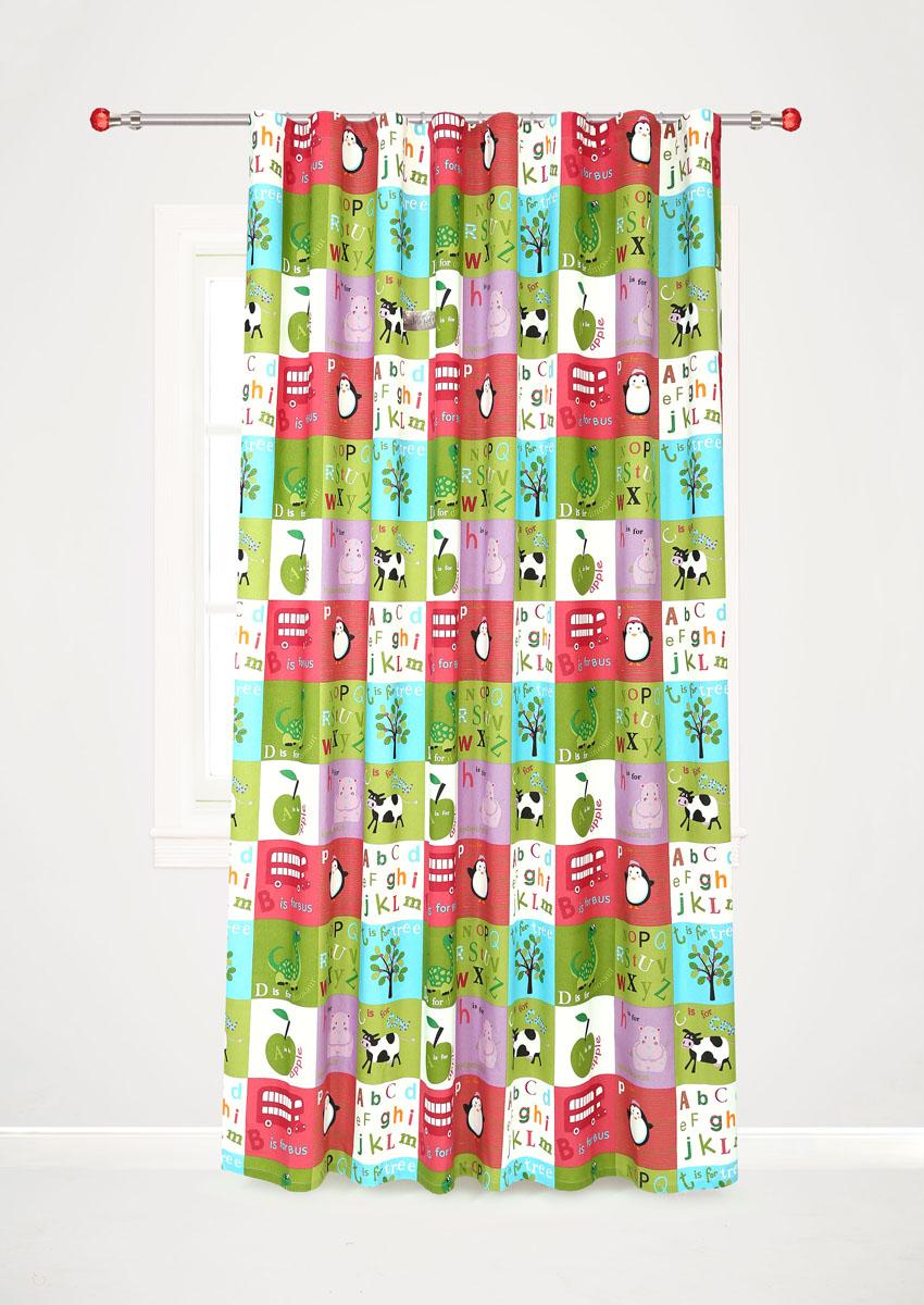 Штора готовая для гостиной Garden, на ленте, цвет: красный, зеленый, размер 200* 260 см. С10238-W1935V7С10238-W1935V7Роскошная портьерная штора Garden выполнена из сатина (100% полиэстера). Материал плотный и мягкий на ощупь.Оригинальная текстура ткани и яркие изображения животных, букв алфавита, фруктов привлекут к себе внимание и органично впишутся в интерьер помещения.Эта штора будет долгое время радовать вас и вашу семью!Штора крепится на карниз при помощи ленты, которая поможет красиво и равномерно задрапировать верх. Стирка при температуре 30°С.