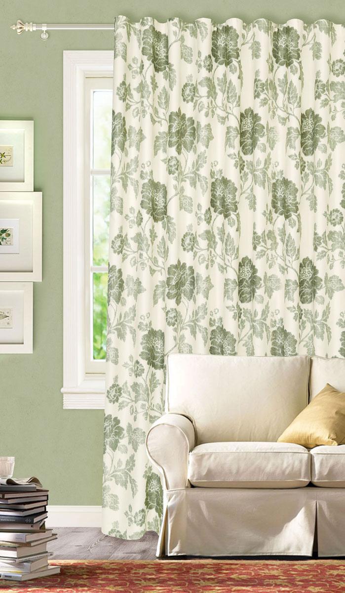 Штора готовая для гостиной Garden, на ленте, цвет: зеленый, размер 200*280 см. С2166-W1223V4С2166-W1223V4Роскошная портьерная штора Garden выполнена из сатина (93% полиэстера и 7% льна). Материал плотный и мягкий на ощупь.Оригинальная текстура ткани и цветочный принт привлекут к себе внимание и органично впишутся в интерьер помещения.Эта штора будет долгое время радовать вас и вашу семью!Штора крепится на карниз при помощи ленты, которая поможет красиво и равномерно задрапировать верх. Стирка при температуре 30°С.