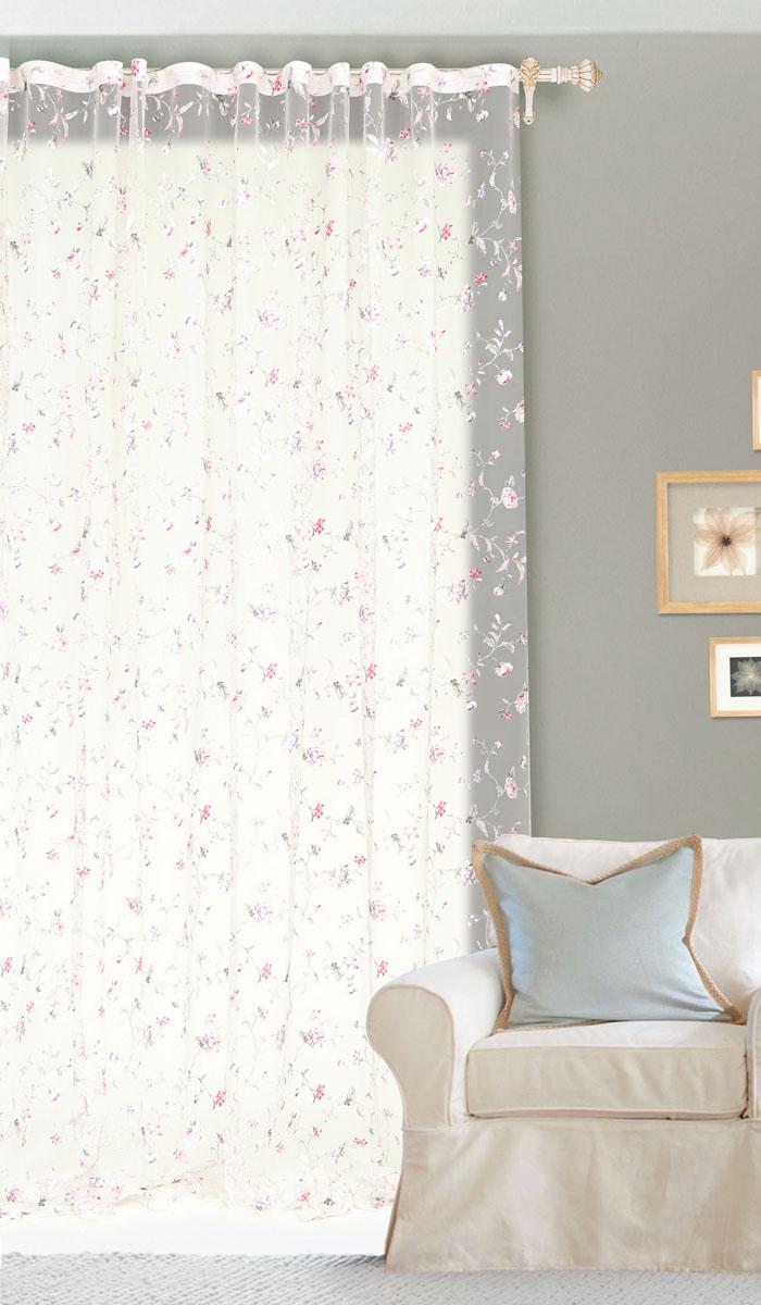 Штора готовая для гостиной Garden Розовые цветы, на ленте, цвет: розовый, размер 300*260 смС10250-W260V4Изящная тюлевая штора Garden Розовые цветы выполнена из высококачественной органзы (полиэстера). Полупрозрачная ткань, приятный цвет привлекут к себе внимание и органично впишутся в интерьер помещения. Такая штора идеально подходит для солнечных комнат. Мягко рассеивая прямые лучи, она хорошо пропускает дневной свет и защищает от посторонних глаз. Отличное решение для многослойного оформления окон. Эта штора будет долгое время радовать вас и вашу семью!Штора крепится на карниз при помощи ленты, которая поможет красиво и равномерно задрапировать верх.