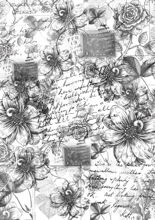 """Калька для скрапбукинга """"Винтажные георгины и розы"""", 21 х 30 см, Кустарь"""