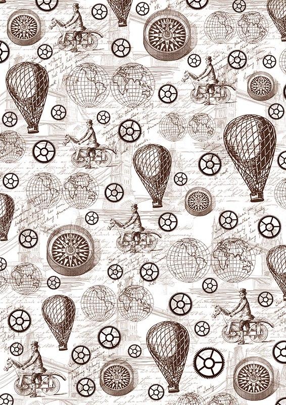 """Пленка-оверлей """"Стимпанк, воздушные шары и компас"""" - прозрачная пленка с нанесенным рисунком. Используется чаще всего в скрапбукинге для декорирования фотографий, альбомов, открыток, блокнотов, сувенирных книг и прочего. Для крепления пленки используются разные способы - люверсы, машинная строчка, можно привязать ленточкой, сделав надрез или отверстие, можно приклеить на клей (двухсторонний скотч, и т.п.) и задекорировать это место другими элементами украшений (цветочками, ленточками, пуговками, аппликациями). На пленке можно писать перманентной ручкой или маркером."""