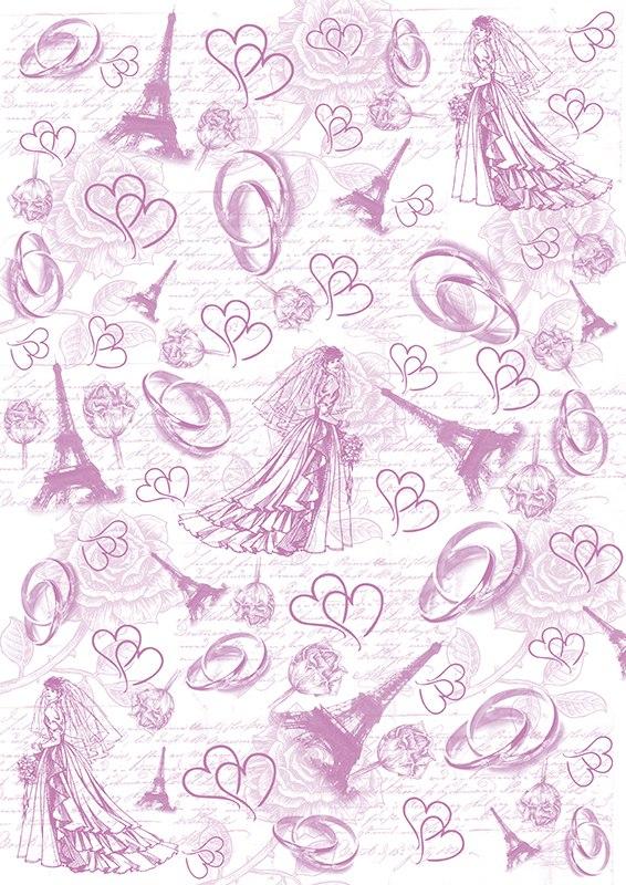 Пленка-оверлей Кустарь Невеста, кольца, Эйфелева башня, формат А4